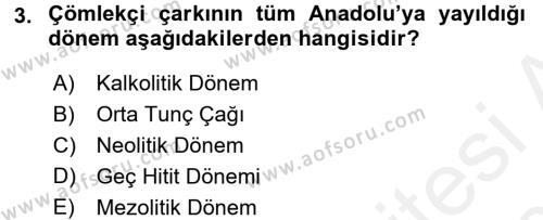 Anadolu Arkeolojisi Dersi 2015 - 2016 Yılı Tek Ders Sınav Soruları 3. Soru