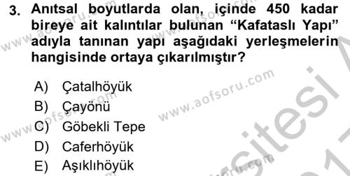 Anadolu Arkeolojisi Dersi 2016 - 2017 Yılı 3 Ders Sınavı 3. Soru