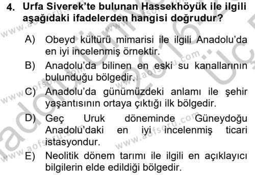 Anadolu Arkeolojisi Dersi 2016 - 2017 Yılı 3 Ders Sınavı 4. Soru