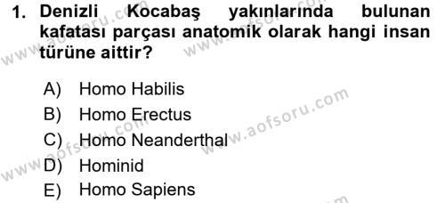 Anadolu Arkeolojisi Dersi 2016 - 2017 Yılı Ara Sınavı 1. Soru