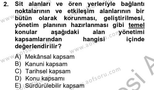 Kültürel Miras ve Turizm Bölümü 2. Yarıyıl Arkeolojik Alan Yönetimi Dersi 2013 Yılı Bahar Dönemi Dönem Sonu Sınavı 2. Soru