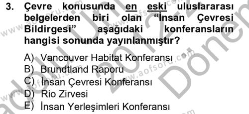 Arkeolojik Alan Yönetimi Dersi 2012 - 2013 Yılı (Final) Dönem Sonu Sınavı 3. Soru