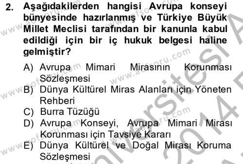 Kültürel Miras ve Turizm Bölümü 2. Yarıyıl Arkeolojik Alan Yönetimi Dersi 2014 Yılı Bahar Dönemi Ara Sınavı 2. Soru