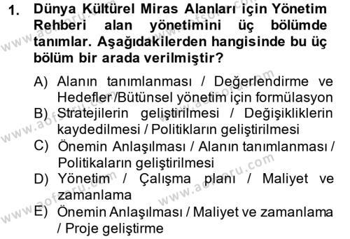 Kültürel Miras ve Turizm Bölümü 2. Yarıyıl Arkeolojik Alan Yönetimi Dersi 2014 Yılı Bahar Dönemi Dönem Sonu Sınavı 1. Soru