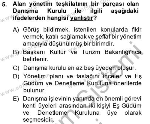 Kültürel Miras ve Turizm Bölümü 2. Yarıyıl Arkeolojik Alan Yönetimi Dersi 2014 Yılı Bahar Dönemi Dönem Sonu Sınavı 5. Soru