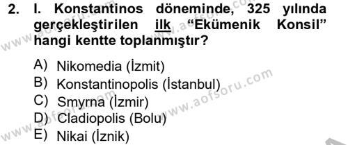 Ortaçağdan Günümüze Anadolu Uygarlıkları Dersi 2012 - 2013 Yılı Ara Sınavı 2. Soru