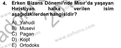 Ortaçağdan Günümüze Anadolu Uygarlıkları Dersi 2013 - 2014 Yılı Ara Sınavı 4. Soru