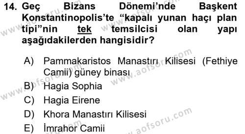 Ortaçağdan Günümüze Anadolu Uygarlıkları Dersi 2015-2016 Yılı Ara Sınavı 14. Soru