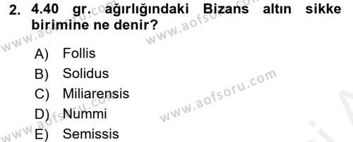 Ortaçağdan Günümüze Anadolu Uygarlıkları Dersi 2015 - 2016 Yılı (Vize) Ara Sınav Soruları 2. Soru