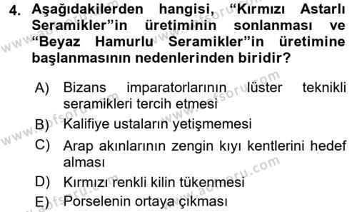 Ortaçağdan Günümüze Anadolu Uygarlıkları Dersi 2015 - 2016 Yılı (Vize) Ara Sınav Soruları 4. Soru
