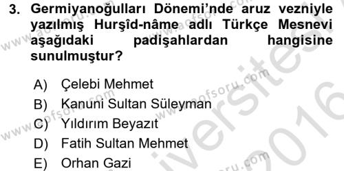 Ortaçağdan Günümüze Anadolu Uygarlıkları Dersi 2015 - 2016 Yılı Dönem Sonu Sınavı 3. Soru