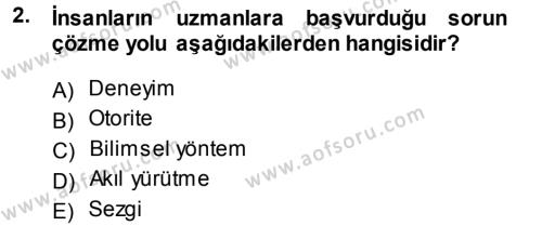 Kamu Yönetimi Bölümü 5. Yarıyıl Sosyal Bilimlerde Araştırma Yöntemleri Dersi 2014 Yılı Güz Dönemi Ara Sınavı 2. Soru