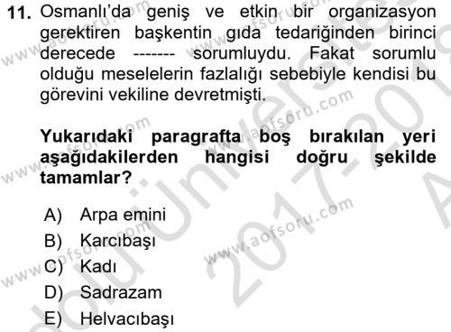 Türk Mutfak Kültürü Dersi Ara Sınavı Deneme Sınav Soruları 11. Soru