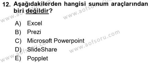 Temel Bilgi Teknolojileri 1 Dersi Ara Sınavı Deneme Sınav Soruları 12. Soru