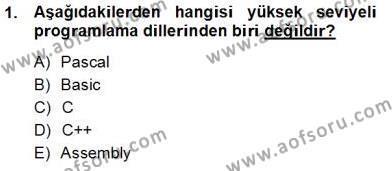 İngilizce Öğretmenliği Bölümü 1. Yarıyıl Bilgisayar I Dersi 2013 Yılı Güz Dönemi Ara Sınavı 1. Soru