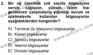 İngilizce Öğretmenliği Bölümü 1. Yarıyıl Bilgisayar I Dersi 2013 Yılı Güz Dönemi Ara Sınavı 2. Soru
