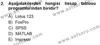 Bilgisayar 1 Dersi 2012 - 2013 Yılı Dönem Sonu Sınavı 2. Soru