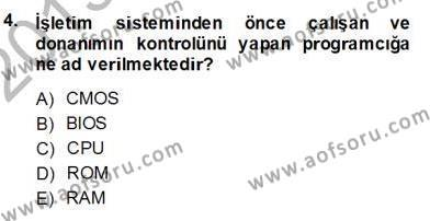 İngilizce Öğretmenliği Bölümü 1. Yarıyıl Bilgisayar I Dersi 2014 Yılı Güz Dönemi Ara Sınavı 4. Soru