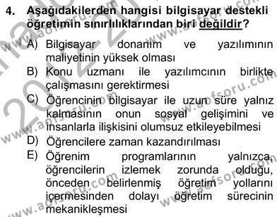 İngilizce Öğretmenliği Bölümü 2. Yarıyıl Bilgisayar II Dersi 2013 Yılı Bahar Dönemi Ara Sınavı 4. Soru