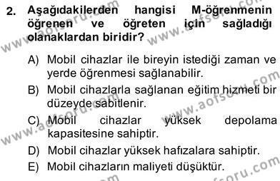 İngilizce Öğretmenliği Bölümü 2. Yarıyıl Bilgisayar II Dersi 2014 Yılı Bahar Dönemi Ara Sınavı 2. Soru