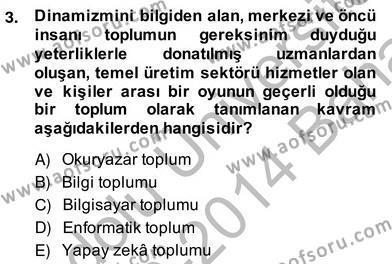 İngilizce Öğretmenliği Bölümü 2. Yarıyıl Bilgisayar II Dersi 2014 Yılı Bahar Dönemi Ara Sınavı 3. Soru