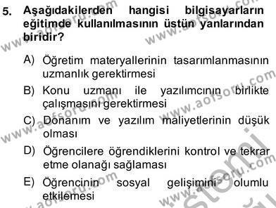 İngilizce Öğretmenliği Bölümü 2. Yarıyıl Bilgisayar II Dersi 2014 Yılı Bahar Dönemi Ara Sınavı 5. Soru