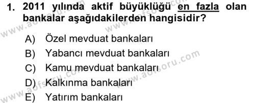 Bankacılık ve Sigortacılık Bölümü 1. Yarıyıl Bankacılık Ve Sigortacılığa Giriş Dersi 2016 Yılı Güz Dönemi Dönem Sonu Sınavı 1. Soru