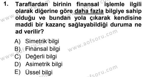 Bankacılık ve Sigortacılık Bölümü 3. Yarıyıl Bankalarda Kredi Yönetimi Dersi 2013 Yılı Güz Dönemi Dönem Sonu Sınavı 1. Soru