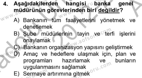 Bankacılık ve Sigortacılık Bölümü 4. Yarıyıl Banka Ve Sigorta Muhasebesi Dersi 2013 Yılı Bahar Dönemi Ara Sınavı 4. Soru