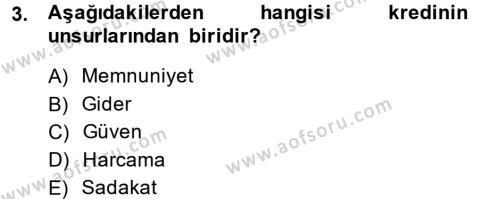Banka Ve Sigorta Muhasebesi Dersi 2013 - 2014 Yılı Dönem Sonu Sınavı 3. Soru