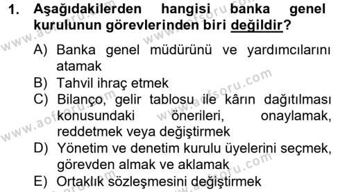 Bankacılık ve Sigortacılık Bölümü 4. Yarıyıl Banka Ve Sigorta Muhasebesi Dersi 2014 Yılı Bahar Dönemi Tek Ders Sınavı 1. Soru