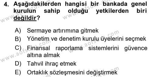 Banka Ve Sigorta Muhasebesi Dersi 2015 - 2016 Yılı (Vize) Ara Sınavı 4. Soru