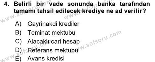 Banka Ve Sigorta Muhasebesi Dersi 2015 - 2016 Yılı (Final) Dönem Sonu Sınavı 4. Soru