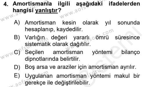 Banka Ve Sigorta Muhasebesi Dersi 2017 - 2018 Yılı (Final) Dönem Sonu Sınavı 4. Soru