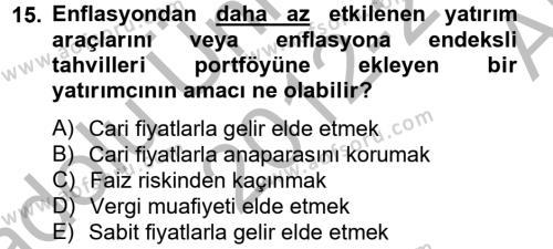 Portföy Yönetimi Dersi Ara Sınavı Deneme Sınav Soruları 15. Soru