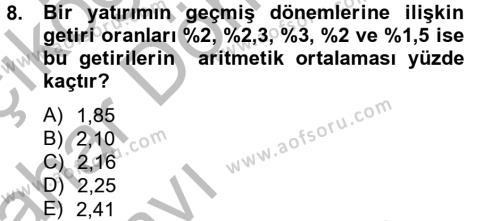Portföy Yönetimi Dersi Ara Sınavı Deneme Sınav Soruları 8. Soru