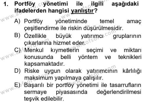 Portföy Yönetimi Dersi 2012 - 2013 Yılı Dönem Sonu Sınavı 1. Soru