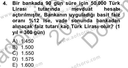 Bankacılık ve Sigortacılık Bölümü 4. Yarıyıl Portföy Yönetimi Dersi 2013 Yılı Bahar Dönemi Dönem Sonu Sınavı 4. Soru