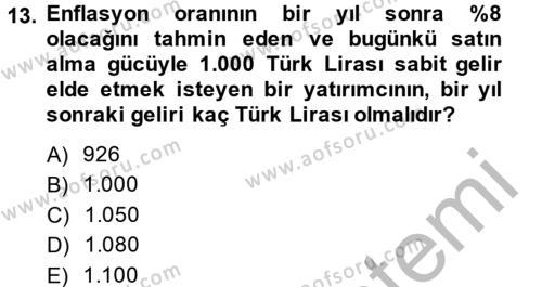 Portföy Yönetimi Dersi Ara Sınavı Deneme Sınav Soruları 13. Soru