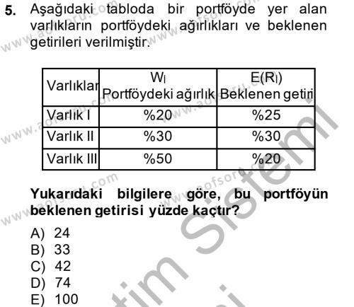Bankacılık ve Sigortacılık Bölümü 4. Yarıyıl Portföy Yönetimi Dersi 2014 Yılı Bahar Dönemi Ara Sınavı 5. Soru