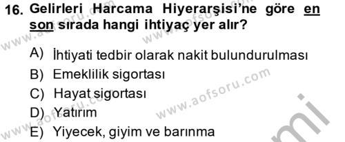 Portföy Yönetimi Dersi Ara Sınavı Deneme Sınav Soruları 16. Soru