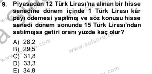 Portföy Yönetimi Dersi Ara Sınavı Deneme Sınav Soruları 9. Soru