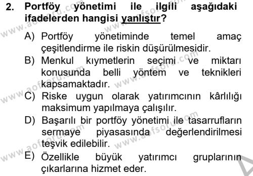 Bankacılık ve Sigortacılık Bölümü 4. Yarıyıl Portföy Yönetimi Dersi 2015 Yılı Bahar Dönemi Dönem Sonu Sınavı 2. Soru