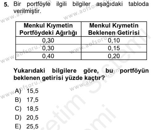 Bankacılık ve Sigortacılık Bölümü 4. Yarıyıl Portföy Yönetimi Dersi 2016 Yılı Bahar Dönemi Ara Sınavı 5. Soru