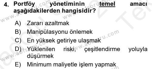 Portföy Yönetimi Dersi 2015 - 2016 Yılı Tek Ders Sınav Soruları 4. Soru