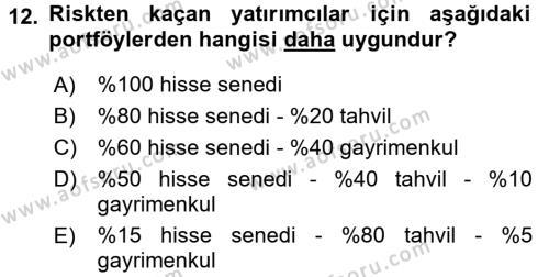 Portföy Yönetimi Dersi Ara Sınavı Deneme Sınav Soruları 12. Soru