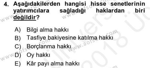 Portföy Yönetimi Dersi 2017 - 2018 Yılı 3 Ders Sınavı 4. Soru