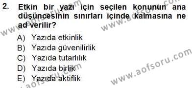 Mesleki Yazışmalar Dersi 2012 - 2013 Yılı Ara Sınavı 2. Soru