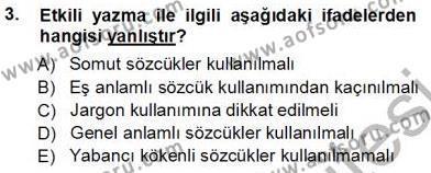 Mesleki Yazışmalar Dersi 2012 - 2013 Yılı Ara Sınavı 3. Soru