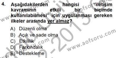 Mesleki Yazışmalar Dersi 2012 - 2013 Yılı Ara Sınavı 4. Soru